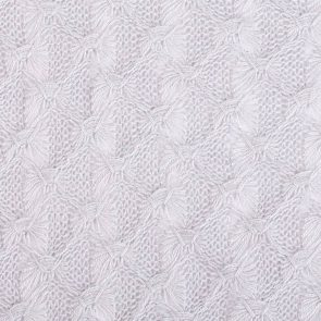 White Butterfly Patterened Fabric With Lurex
