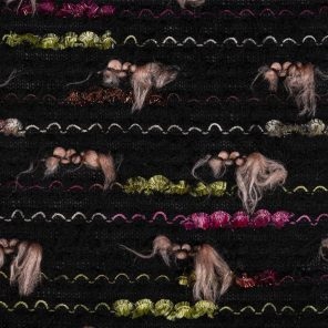 Knitted Fabric With Black And Coloured Sprecial Fancy Yarns