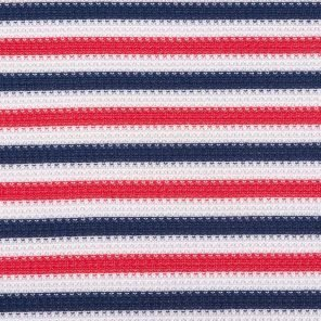 White-Blue-Red Piquee Knitted Striped Fabric