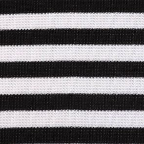 White-Black Piquee Striped Knitted Fabric