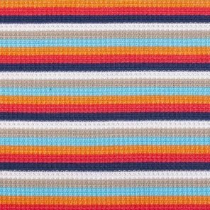 White-Orange-Turquoise-Red Striped Piquee Knitte Fabric