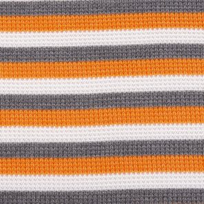 White-Orange-Grey Piquee Knitted Fabric
