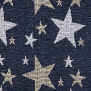 Navy Jacquard Knitted  Fabric With Silver And Gold Stars