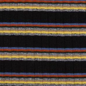 Yellow-Red-Blue-Grey Melange Stripes On Black Rib Knitted Fabric