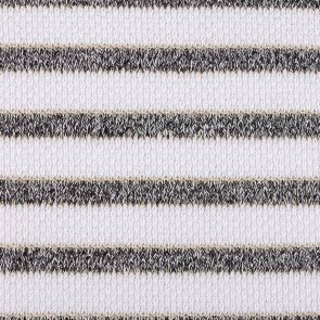 White With Gold Lurex And Black Stripes Knitted Fancy Fabric