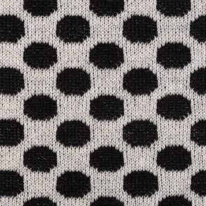 White-Black Polka Dots Knitted Jaquard Fabric