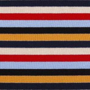 Black-Red-Blue-Beige-Ecru Striped Knitted Fabric With Lurex