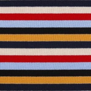 Black-Red-Blue-Beige-Ecru Striped Knitted Fabric With Lurex