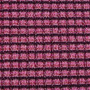 Pink-Black Check With Bouckle Yarns Fancy Knitted Fabric