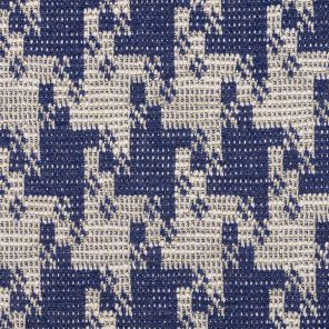Ecru Houndstooth  Desseign With Gold Lurex On Navy Fond  Jacquard Knitted Fabric