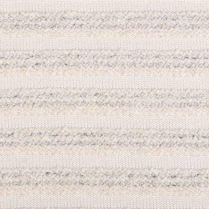 White-Ecru-Navy Bouqle Striped Knitted Fabric