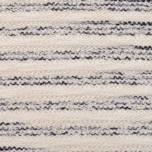Navy-Ecru White Stripes Fancy Knitted Fabric
