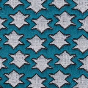 Turquoise -White-Black Double Jaquard Knitted Fabric