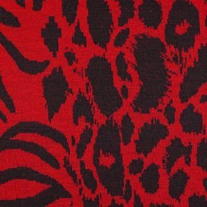 Red-Black Leopard Deseign Knitted Fabric