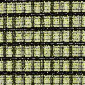 Yellow -Black White Checks Jacquard Fabric